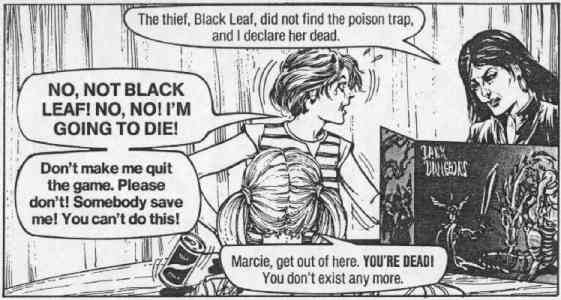 "If your players are going to react like this person did in the Chick Tract called ""Dark Dungeons"" then you have so many other peoples going on other than how to midigate Death in a game of Dungeons & Dragons. Seek professional help, seriously."
