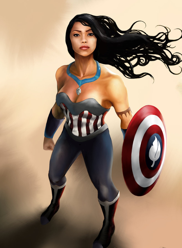 Pocahontas-as-Captain-America