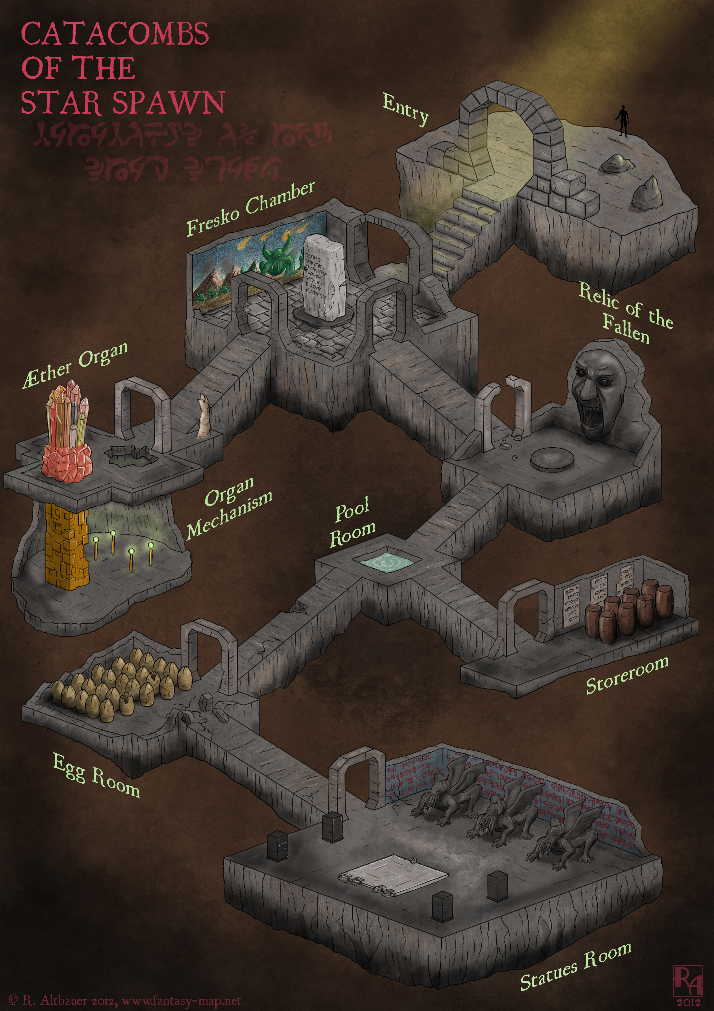 Map Of Mystery Star Spawn Catacombs Keep Rollin Sixes